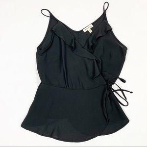 Monteau Black Sleeveless Faux Wrap Ruffle Top Sz M
